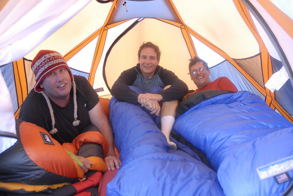 Mike, Ralph, and Bill getting settled in the tent