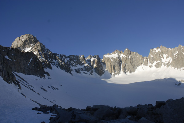 The Palisade Glacier with Mt. Sill on the left.