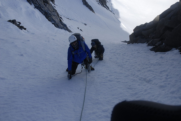 Chuck and Dusty on the 3rd pitch of the Apex Couloir.