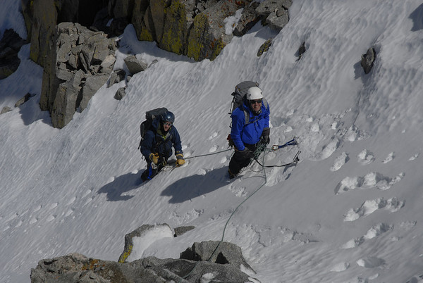 Chuck and Dusty at the belay station at the top of the 6th pitch.