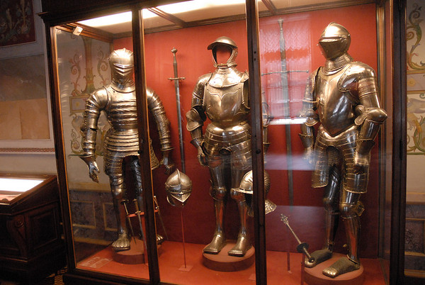 Knight armor on display at the Hermitage Museum, St. Petersburg.  The Hermitage Museum has so many artifacts that if a person viewed each piece for one minute it would take seven years to see everything.  Furthermore, only 10% of everything in the museums possession is on display!