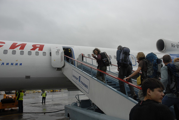 Boarding a Russian airliner bound for Mineralnye Vody
